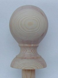 Ball newel cap in pine, with half bead base.